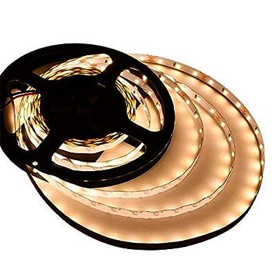 LEDwholesalers UL 16.4-ft Flexible LED Light Strip with 300xSMD2835 12-Volt 24-Watt, Warm White 3000K, 20105WW-30K