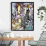 YXMM - Juego de pintura al óleo pintada a mano sobre lienzo, diseño de mapas de paisaje, varios patrones opcionales para decoración de pared del hogar, Pavo real, 40 * 50