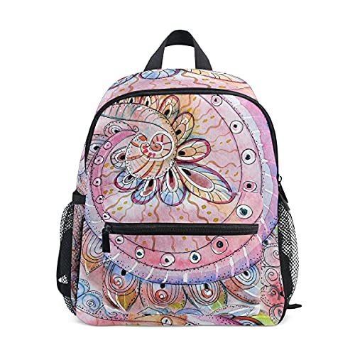 ISAOA - Mochila para niñas y niñas, diseño de plumas de pavo real, color rosa