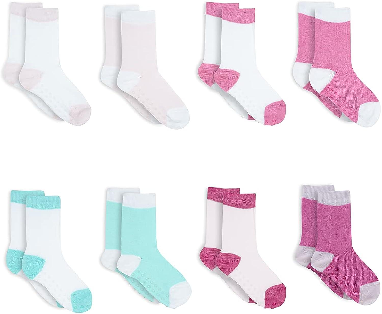 Wink & Blink Girls Organic Baby Crew Socks with non-slip grip , pair of 8, Organic Cotton