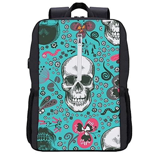 NiYoung Lightweight Polyester Rucksack Lovely Human Skulls Drawn Pattern Travel Hiking Daypack - Big Capacity Multipurpose Anti-Theft Carry-On Bag for Men & Women