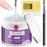 Vrenmol Builder Gels Kit de uñas – 60 g de gel de extensión de uñas transparente para fortalecer uñas de gel duro Set de manicura con 100 formas de uñas y cepillo de uñas acrílico para principiantes