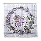 Wamika Fahrrad Lavendel Blumen Badezimmer Duschvorhang Liner Home Decor Stoff Schimmelresistent Wasserdicht Badewanne Vorhang Tuch mit 12 Haken 183,0 cm x 183,0 cm