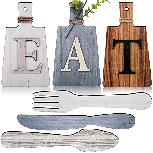 6 Pieces Eat Sign Kitchen Decorations Wall Cutting Board Eat Signs Kitchen Decor Fork Spoon and Knife Wood Wall Decor Rustic Farmhouse Kitchen Wall Art (Vintage Color)