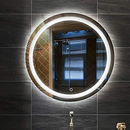DELM Touch Wandspiegel/LED Badezimmerspiegel/Beleuchtet Badspiegel mit Licht/Intelligenter runder Spiegel/Ultradünner kupferfreier Silberspiegel