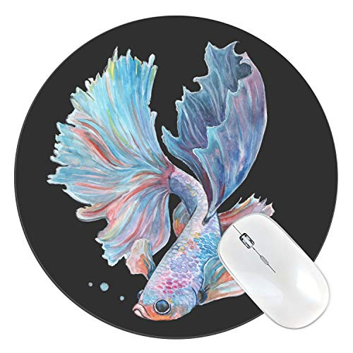 FannyD Betta Fish Watercolor Art 8' Round Mouse Pad, Low Profile (1/8') with Anti Slip Rubber Backing & Cloth Surface Featuring Art by Fanny Dallaire. for PC, Laptop, Mac