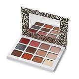 Vtrem Paleta de sombras de ojos con espejo, 12 colores, color tierra, mate, brillante, sombra de ojos, maquillaje cosmético