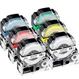 テープ 18mm テープカートリッジ キングジム 白 Tepra 本体 KINGJIM テプラpro SS18K ST18K SC18R SC18Y SC18G SC18B 互換 8M 強粘着 6色の1セット ASprinte