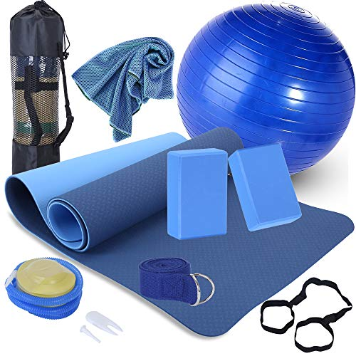 Yoga Beginners Kit Yoga Blocks 2 Pack Yoga Strap Yoga Ball Yoga Mat with Carrying Strap Net Bag Sports Cooling Towel,Yoga Mat Kits and Sets for Beginners 11-Piece Yoga Starter Kit for Women (Blue)