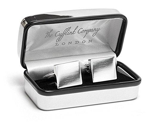 Engrave It Online Boutons de manchette rectangulaires en chrome et boîtier personnalisé et gravé