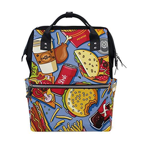 Hamburger Pommes Cola Kaffee-Schulrucksack, große Kapazität, für Mumien-Taschen, Laptop, Handtasche, Freizeit, Reiserucksack für Damen, Herren, Erwachsene, Teenager, Kinder