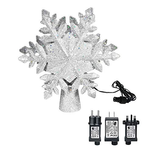Christmas Tree Topper Lighted with Led Rotating Snowflake Projector Lights, 3D Hollow Silver Star Snow Tree Topper for Christmas Tree Decorations (EU)