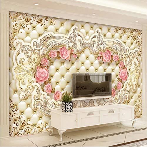 3D muurschilderingen op maat behang 3D zacht pak bloem Europese stijl woonkamer bank tv achtergrond muur papier muurschildering 3D 400x280cm