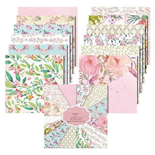 YARUMI Cardstock Papierblock, 15,2 x 15,2 cm, schönes Gartenpapier zur Kartengestaltung, Blumenmuster, Frühlingsmotiv, einseitig bedruckt, dekoratives Papier, Bastelpapier, Fotoalbum, Dekor, 24 Blatt