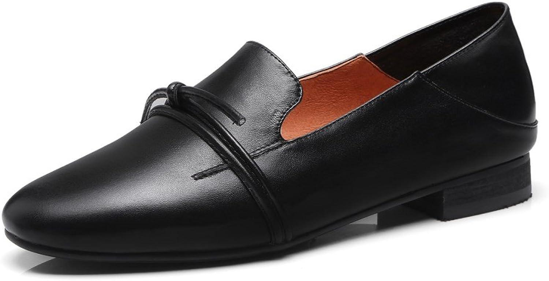 Nine Seven Genuine Leather Women's Round Toe Flat Heel Slip On Handmade Loafer Comfort Pump shoes