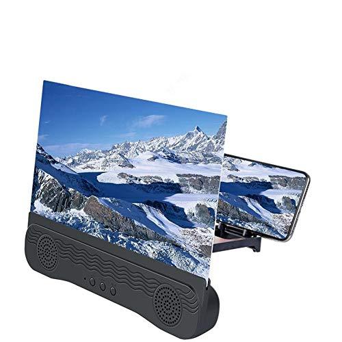 Amplificador de Pantalla para Teléfono Móvil con Altavoz Bluetooth,6D Pantalla del Lupa HD de 12 Pulgadas Zoom 2-3 Veces, Protección para los Ojos para Ver Videos y Películas