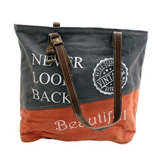 Canvas Tragetasche Leder Tasche Schultertasche Shopper Damentasche (Farbauswahl) - Gall & Zick (Beautiful Blau/Orange)