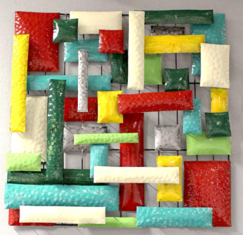 Meubletmoi - Decorazione da parete quadrata, 50 cm, in metallo, multicolore, dipinto, articolo decorativo artigianale, astratto, da appendere