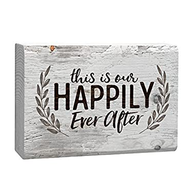 This Is Our Happily Ever After Laurel Wreath White 4 x 5 Inch Solid Pine Wood Barnhouse Block Sign