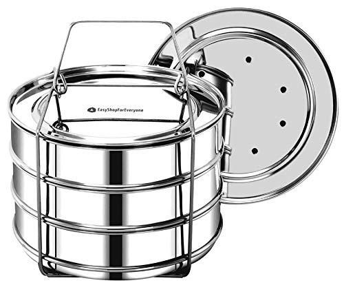 EasyShopForEveryone Stackable Insert Pans, Pressure Cooker Accessories 6qt [8qt avail] Compatible with Instant Pot 6,8 Qt, Ninja Foodi, IP 6 Quart, Pot in Pot Cooking Insta Pot, Cook 3 Dishes at once