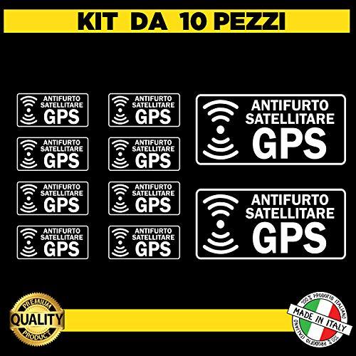 Kit da 10 (8 piccoli+2 grandi) Adesivi satellitari Trasparenti antifurto GPS per Interno Auto - Adesivi Allarme GPS ANTIFURTO - Adesivo ANTIFURTO SATELLITARE GPS per Camion AUTOVEICOLI