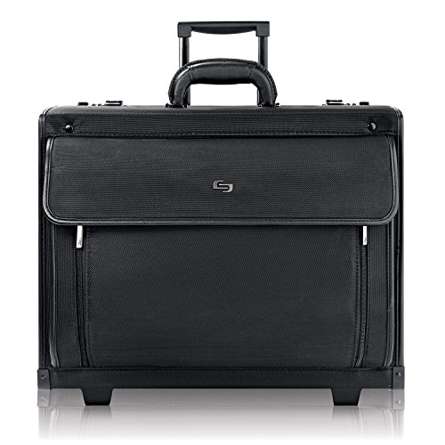Solo New York Herald Rolling Hard Sided Catalog Case with Padded Laptop Compartment, Black, One Size