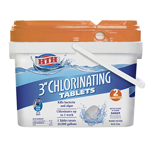 HTH 42040 Super 3-inch Chlorinating Tablets Swimming Pool Chlorine, 25 lbs