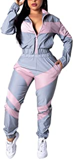 Womens 2 Piece Outfits Long Sleeve Windbreaker Tracksuit Pants Sets