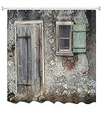 A.Monamour Duschvorhänge Alte Grunge Ziegel Scheune Wand Holz Fenster Vintage Holztür Architektur Hintergründe Drucken Wasserdicht Mehltau Beständig Stoff Polyester Duschvorhang Für Bad 180X200 cm