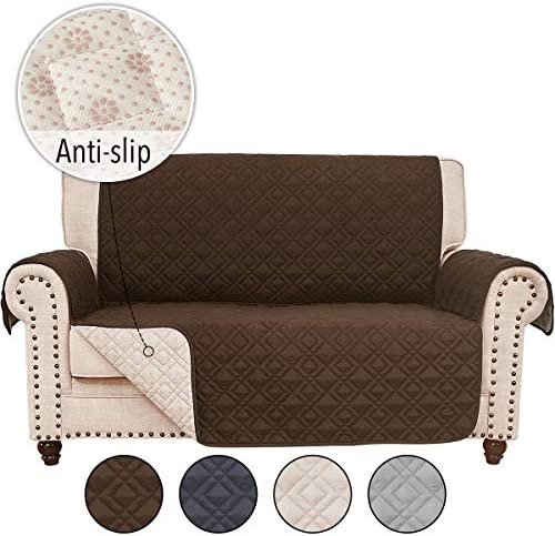 Best RHF Anti-Slip Loveseat Covers for Leather Sofa, Couch Cover, Loveseat Cover for Living Room, Slipcov
