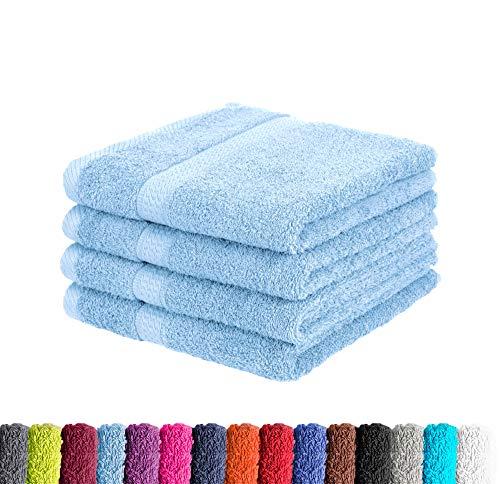 4er Pack zum Sparpreis Frottier Handtuch in vielen Farben 100% Baumwolle 500 g/m², 4X Handtücher 50x100 cm Hellblau