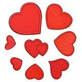 Healifty - 8 parches de hierro bordados con forma de corazón rojo con motivo de aplique para decoración de...