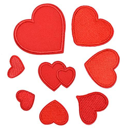 Healifty - 8 parches de hierro bordados con forma de corazón rojo con motivo de aplique para decoración de ropa, vaqueros