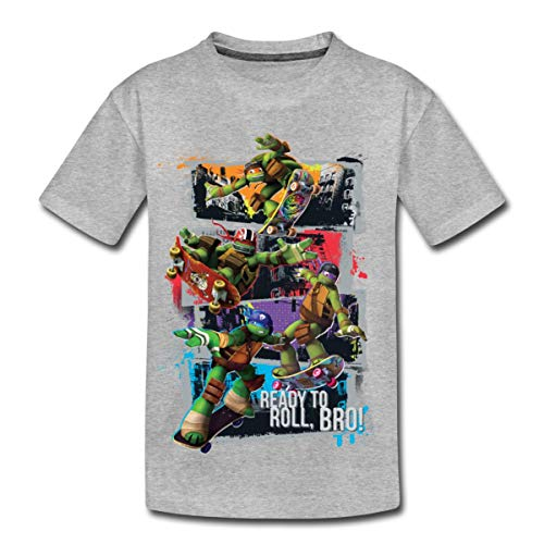 TMNT Turtles Leo Donnie Raph Mikey Fahren Skateboard Kinder Premium T-Shirt, 122-128, Grau meliert