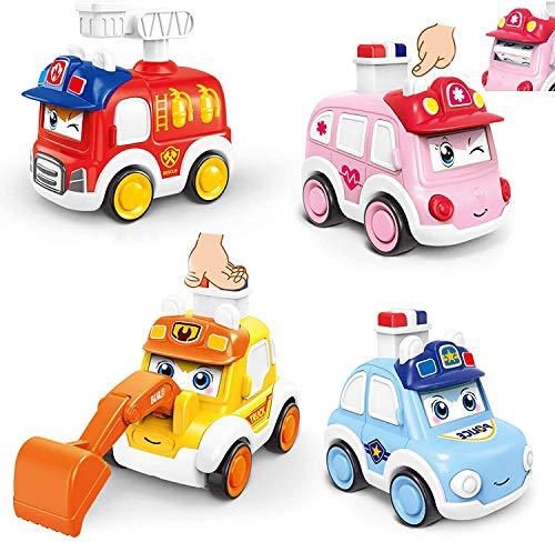 ZWOOS 4 Stück Push und Go Spielzeugautos, Auto Spielzeug Aufziehautos Spielzeugauto Set Drücken Sie und gehen Sie Spielzeug Früherziehung Autos Spielzeug für Geschenk Kinder Jungen & Mädchen