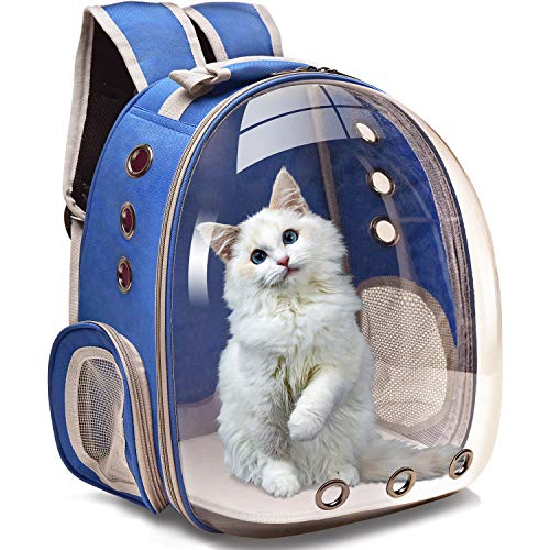 Henkelion Cat Carrier Dog Carrier Backpack, Pet Carrier Back Pack Front Pack for Small Medium Cat Puppy Doggie, Dog Body Carrying Bag Travel Space Capsule Knapsack - Blue