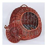 ペット猫テント 猫のベッドハンドメイドラタン、コットンパッド付き手作りの籐のバスケットペットベッドは、蓋と、あなたは、ペットの猫と犬のための夏のクールを、それを運ぶことができます 猫小型犬用 (色 : Red-brown, サイズ : S)