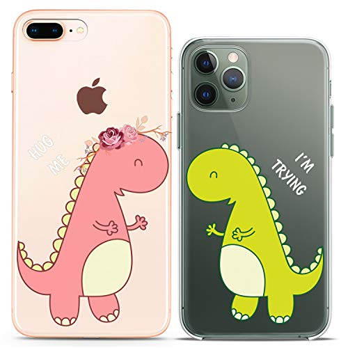 Cavka Matching Couple Cases Compatible with iPhone 12 Pro 5G Mini 11 Xs Max 6s 8 Plus 7 Xr 10 SE X 5 Hug Me Clear Dinosaur Gift Lovely Adorable Best Silicone Cover Love Cute Art Mate Teen Kids Girl