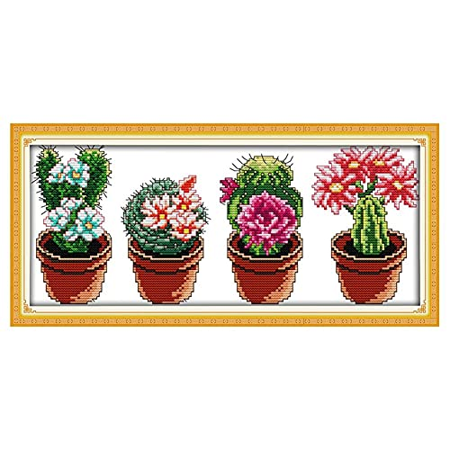 Plant Series 14CT Kit de punto de cruz con patrón impreso, manualidades, costura DMC, bordado para decoración de pared del hogar