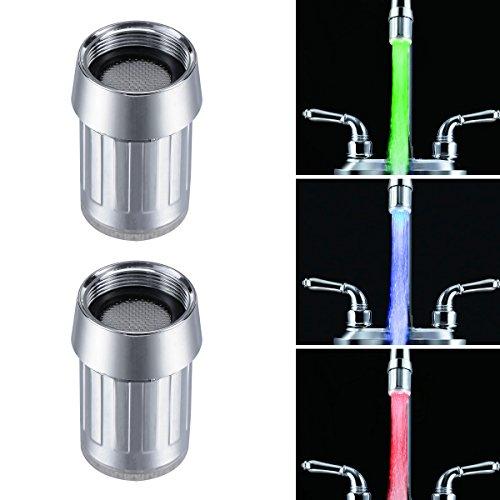 BESTOMZ 2Pcs Bunte LED Wasserhahn LD8001-A6 Wasser Stream Wasserhahn, 7 Farbe ändert allmählich Wasserhahn für Küche und Bathroms.