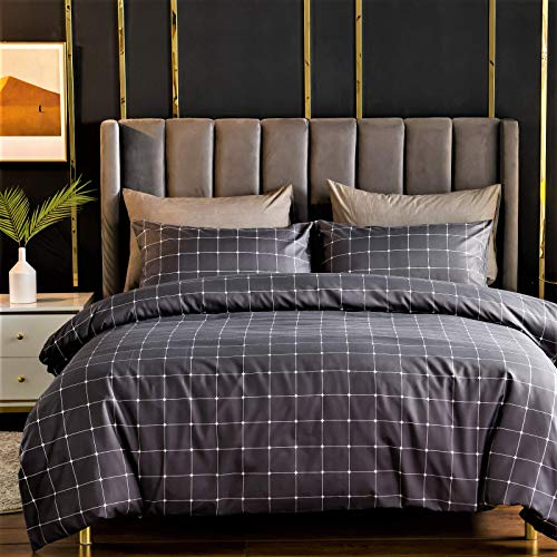 LAZZARO Super King Size Duvet Set - Brushed Microfibre Bedding Set Superking Size Bed Duvet Cover with Pillowcases, Quilt Cover Sets 260cm x 220cm Charcoal Grey