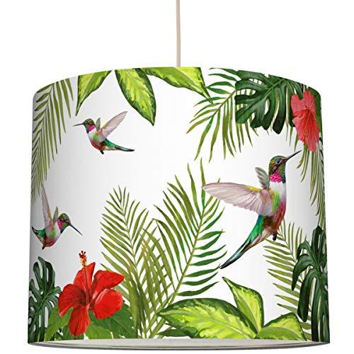 Anna Wand Lampenschirm/Hängelampe KOLIBRIS & Hibiskus – Schirm für Lampe mit tropischem Pflanzenmotiv – Sanftes Licht auch für Tischleuchte oder Stehlampe – ø 40 x 34 cm