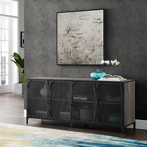 WE Furniture Industrial Metal Mesh Universal Stand with Cabinet Doors TV's up to 64' Flat Screen Living Room Storage Entertainment Center, 60 Inch, Gray Wash