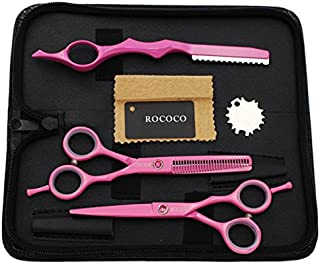 ROCOCO Professional 5.5 inch Pink Salon Hair Cutting Scissors and Hair Thinning Shears with Razor for Female Hairdresser(Pink)