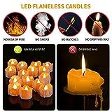 Kasimir e kerzen LED Kerzen Flammenlose 15 Stück Teelichter mit Timer 6 Std an - 18 Std aus - Realistisches Flammenflackern Für Hochzeiten Feste Partys usw. Inkl CR2032 Batterien Bernstein - 2