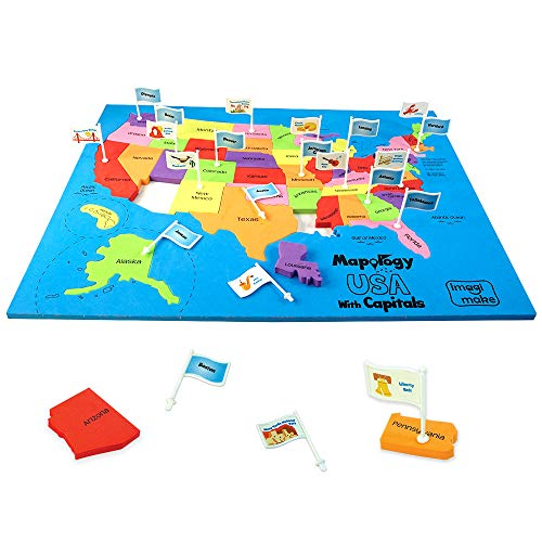 Imagimake: Mapology USA with Capitals- Learn USA States Along with Their Capitals and Fun Facts- Fun Jigsaw Puzzle- Educational Toy for Kids Above 5 Years