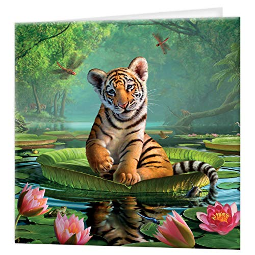 3D LiveLife Greeting Card - Tiger Lily, Colourful Bengal Tiger Lenticular 3D Card from Deluxebase, for any occasion and age. Original artwork licensed from renowned artist, Jerry LoFaro!