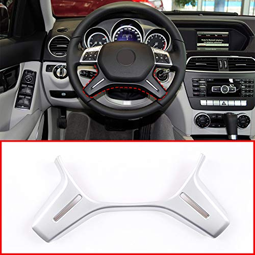 Matte Silver ABS Chrome For Mercedes Benz C Class W204 C180 C200 2011-2013 Car Steering Wheel Decoration Trim E ML GL Class W212 X166 W166