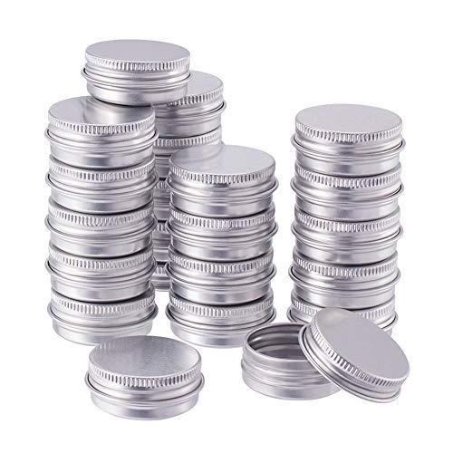 BENECREAT 30 Pack 15ml Lata de Aluminio Caja de Aluminio Redondas con Tapa de Rosca Contenedores Metálicos - Ideal para Almacenar Especias, Dulces, Té o Pastillas (Platino)