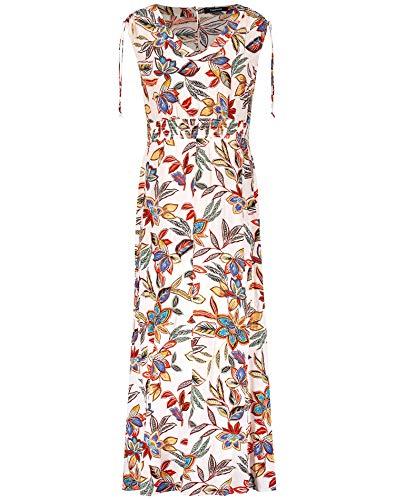 Taifun Damen Sommerkleid mit Schulterraffung figurumspielend, leicht ausgestellt, tailliert Offwhite Gemustert 42